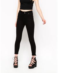 Asos Skinny Pants In Twill With Zip Back Detail black - Lyst