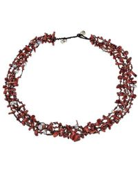 Aeravida - Royal Red Five-layer Beauty Cotton Rope Necklace - Lyst