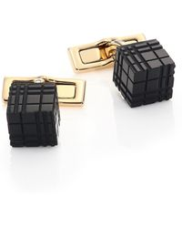 Burberry | Brass & Enamel Cube Check Cuff Links | Lyst