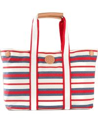 Tory Burch Striped Tote - Lyst