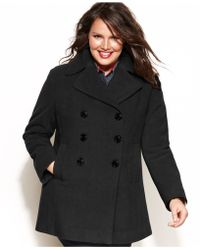 fa301bc905 Kenneth Cole Reaction - Plus Size Double-Breasted Wool-Blend Pea Coat - Lyst