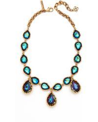 Oscar de la Renta - Large Crystal Teardrop Necklace - Lyst