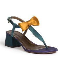 Lanvin Satin Bow T-Strap Sandals - Lyst