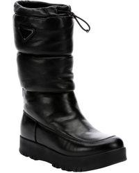 Prada Sport Nero Leather Lug Sole Mid-Calf Slip-On Boots - Lyst