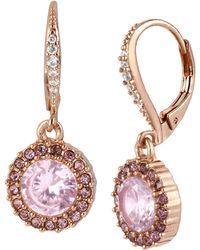 Betsey Johnson - Rose Goldtone And Rose Crystal Round Drop Earrings - Lyst