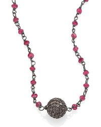 Iam By Ileana Makri Grey Diamond, Ruby & Oxidized Silver Little Ball Beaded Necklace - Lyst