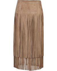 Michael Kors Suede Fringed Skirt - Lyst