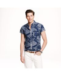 J.Crew Shortsleeve Chambray Shirt in Printed Chambray - Lyst