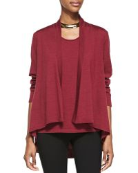 Eileen Fisher Angled-front Merino Jersey Cardigan - Lyst