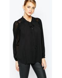 Oasis | Pleat Pussy Bow Blouse | Lyst