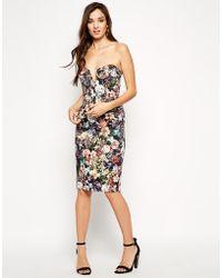 Asos Winter Floral Bandeau Dress - Lyst