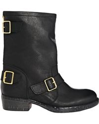 Dune Riffy Leather Mid Calf Biker Boots - Lyst