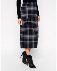 Asos Check Pencil Skirt - Lyst