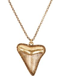 Lucky Brand Goldtone Shark Tooth Pendant Necklace - Lyst