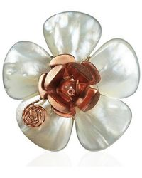Aeravida - Flourishing Copper Rose Mother Of Pearl Free Size Ring - Lyst