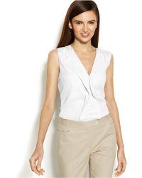 Calvin Klein Ruffled-Front Sleeveless Top - Lyst