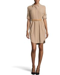 Halston Long-sleeve Belted Silk Shirtdress - Lyst