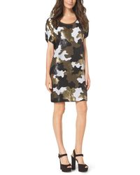 Michael Kors Sequined Camouflage Dress - Lyst