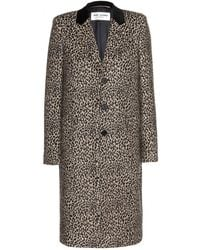 Saint Laurent Leopard-Print Wool Coat - Lyst