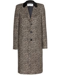 Saint Laurent Leopard Print Wool Coat - Lyst