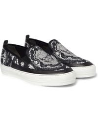 Alexander McQueen Skullprint Canvas and Leather Slipon Sneakers - Lyst
