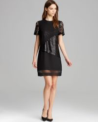 Robert Rodriguez Dress Lace Illusion Overlay Shift black - Lyst