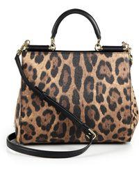 Dolce & Gabbana Sicily Medium Leopard-Print Textured Leather Top-Handle Satchel - Lyst