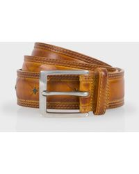 Paul Smith Tan Hand-Stitched Leather Belt - Lyst