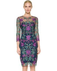 Notte by Marchesa | Embroidered Tulle Cocktail Dress - Navy | Lyst