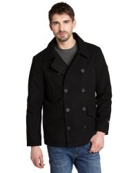 T-Tech By Tumi - Black Wool Blend Pea Coat - Lyst