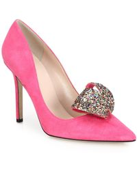 Kate Spade | Louisa Glitter Bow Suede Pumps | Lyst
