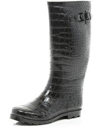 River Island Black Mock Croc Wellies - Lyst