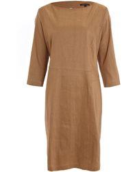 Sarah Pacini - Tan Mid-sleeve Midi Dress - Lyst
