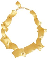 Herve Van Der Straeten Gold-Plated Curved Square Gold Necklace - Lyst