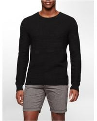 Calvin Klein White Label Textured Cotton Crewneck Sweater black - Lyst