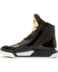 Versace Black Leather Gold_plated Sneakers - Lyst