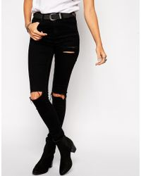 Asos Ridley Jeans in Black with Thigh Rip and Busted Knees - Lyst
