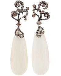 Arunashi - White Moonstone Diamond Earrings - Lyst