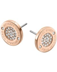 Michael Kors Pavé-embellished Rose Gold-tone Stud Earrings - Lyst