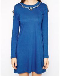 American Retro Venus Long Sleeve Dress With Embellished Neckline - Lyst