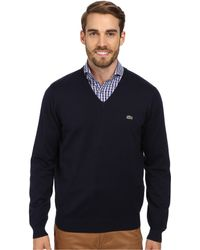 Lacoste Glc Cotton Jersey V-neck Sweater - Lyst