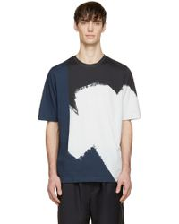 3.1 Phillip Lim Navy And White Abstract T_Shirt - Lyst