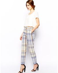Asos Soft Trousers in Check - Lyst