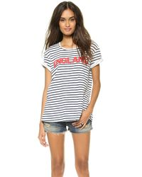 Textile Elizabeth And James Striped Bowery Tee Whitebluered - Lyst