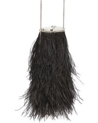 Roberto Cavalli Dea Ostrich Feathers & Silk Clutch - Lyst