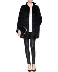 Alexander McQueen Textured Faux Fur Coat - Lyst