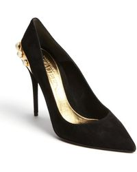 Alexander McQueen Black Suede Embossed Leather Gold Trimmed Faux Pearl Pumps - Lyst