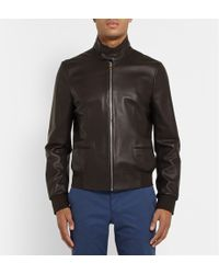 Paul Smith Leather Harrington Jacket - Lyst