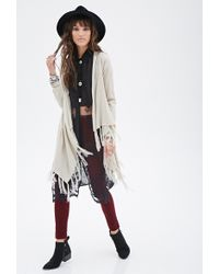 Forever 21 Open-Front Fringed Cardigan - Lyst