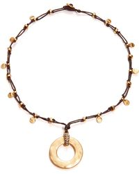 Lauren by Ralph Lauren - Hammered Disc Pendant Necklace - Lyst